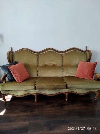 Wypoczynek Ludwik Chippendale Sofa kanapa plus dwa fotele stan dobry