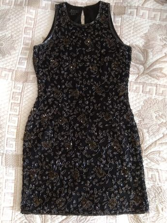 Винтажное вечернее платье натур шелк+бисер+пайетки оригинал