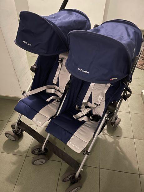 Прогулочная коляска для двойни Maclaren Twin Triumph, синий