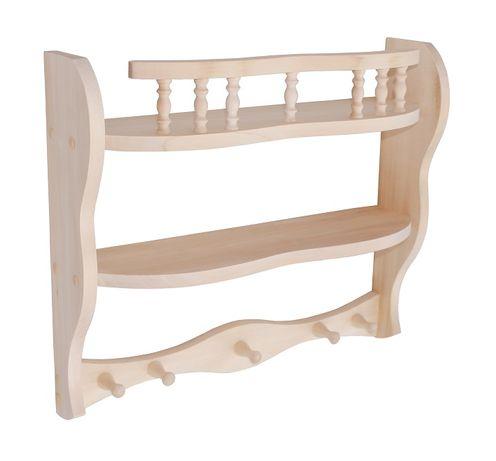 Полка деревянная фигурная с крючками для кухни