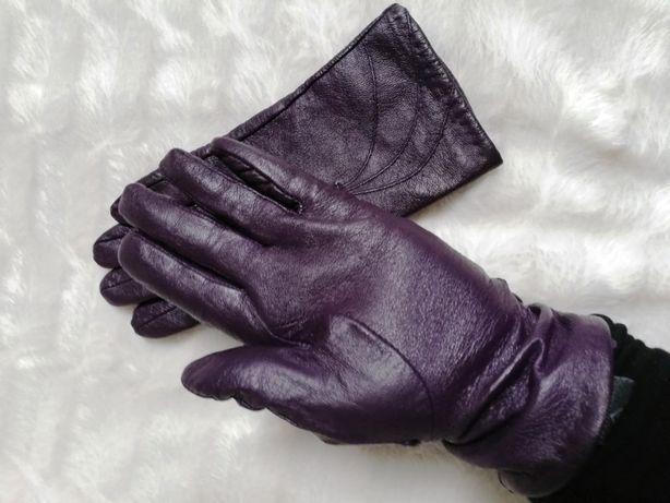 Rękawiczki eko skóra fioletowe