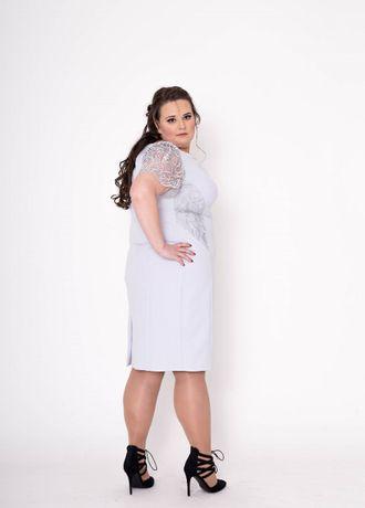 Sukienka Elegancka Wiktoria 5XL Szara Koronkowa 50 Wesele Na Wesele
