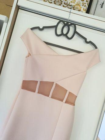 Sukienka Asos midi xs s pudrowy róż dopasowana
