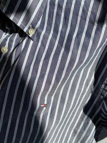 Niebieska koszula w paski pasy tommy hilfiger L