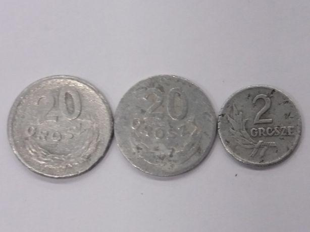 Monety 2 i 20 groszy 1949 i 20 gr z 1973 bez znaku mennicy