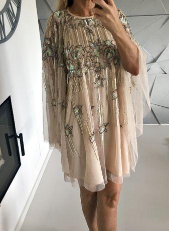 Ekskluzywna sukienka koraliki tiul zdobiona luźna S M Asos glamour