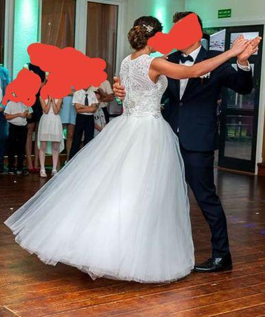 Jedyna taka suknia ślubna Ksiezniczka Szyta ręcznie Stan idealny