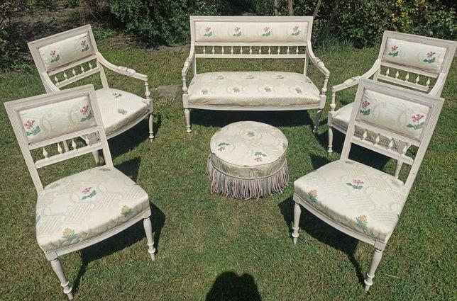 Stylowy wypoczynek SOFA 2 fotele 2 krzesła pufa