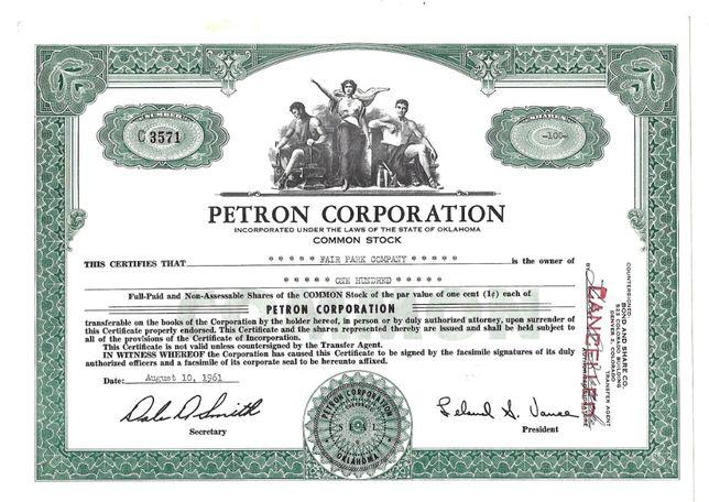 Bonds Shares Ações Petron Corporation 100 - ações 1961 USA