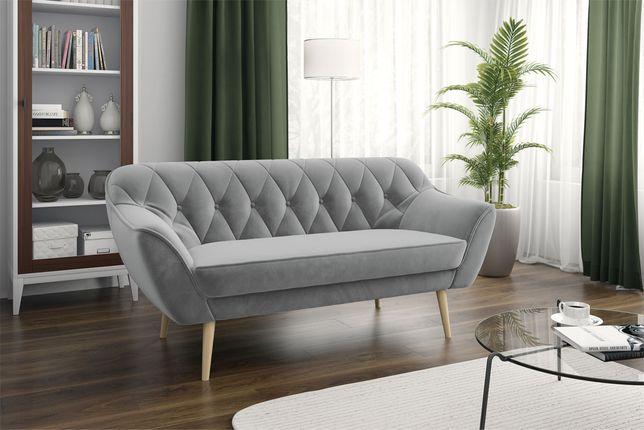 Kanapa, sofa trzyosobowa z pikowanym oparciem, Srebrna - DOSTAWA