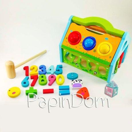 Деревянная игрушка сортер-стучалка Домик