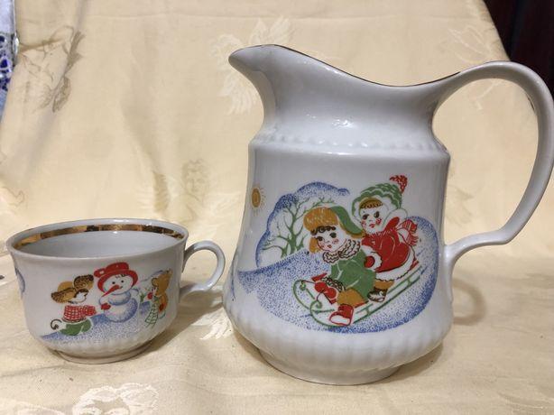 Детская посуда ссср кувшин чашка фарфор