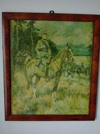 obraz (oleodruk) - Piłsudski na Kasztance