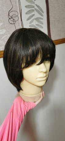 Новый натуральный парик тёмный шатен мелировка