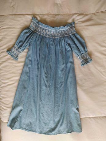 Vestido azul em algodão