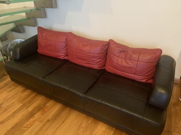 Rozkładana sofa i fotel (skóra)