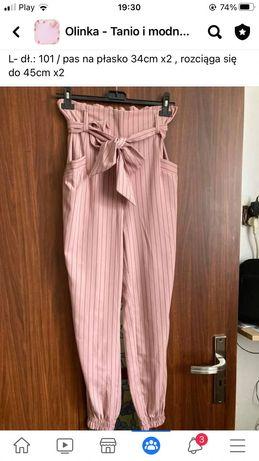 Różowe spodnie z wysokim stanem