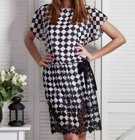Sukienka w romby, sukienka koktajlowa, na codzień