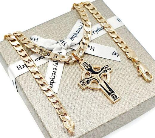 Łańcuszek krzyż stal złoty pozłacany 18K