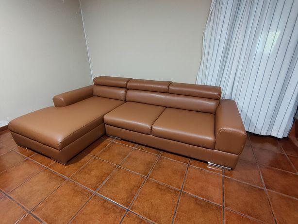 Sofá Chaise Lounge Castanho Como Novo