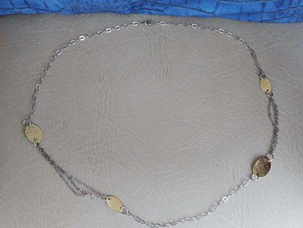 Colar em Prata (dá duas voltas) dois tons (prata e prata dourada)