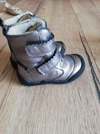 Buty dziecięce dziewczęce zimowe jesienne srebrne błyszczące 23