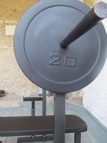 Блины для штанги 20 кг под гриф 25, 30, 50 мм. Производитель.