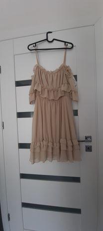 Sukienka beżowa hiszpanka