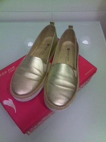 sapatilhas douradas senhora