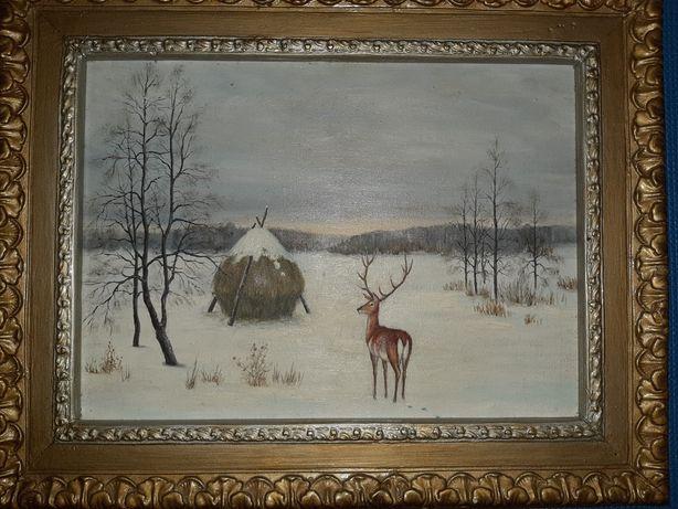 Картина маслом 1988 г. Зима