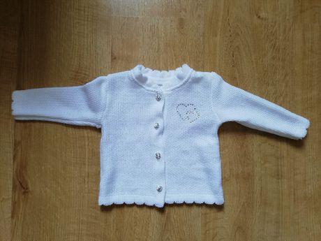 Sweter Sweterek do chrztu serduszka srebrne 74