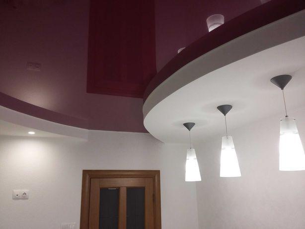 Натяжные потолки Софиевская Борщаговка. Ремонт потолка. Слив воды