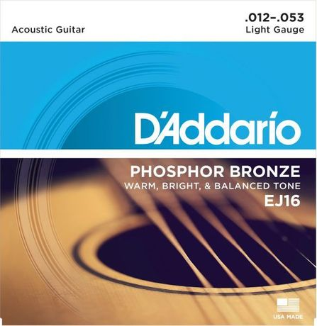 Struny D'Addario EJ16 Phosphor Bronze, Light, 12-53