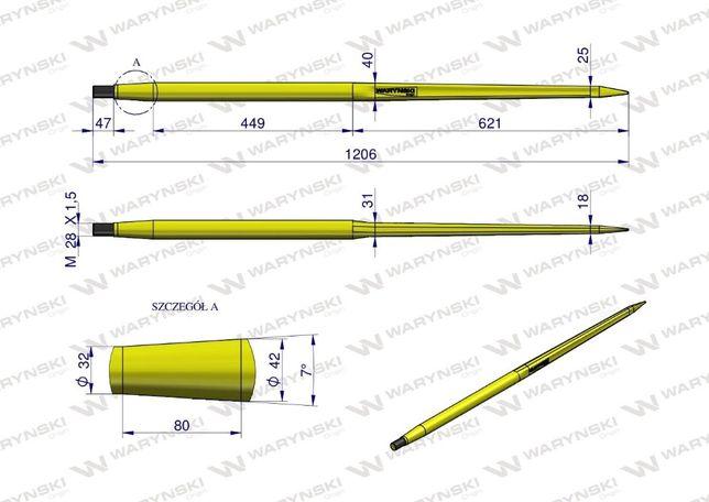 Ząb ładowacza CIĘŻKI uniwersalny prosty L- 1200 mm Waryński Tur