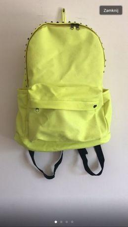 Plecak neonowy skórzany żółty ćwieki sinsay