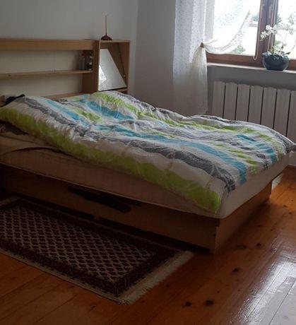 Łóżko 160x200 bez materaca z 2 szafkami lustrem półkami i oświetleniem