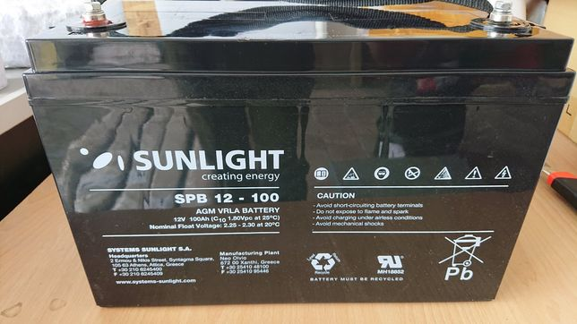 Тяговые гелевые аккумуляторы, Sunlight 100 Ампер 12 вольт. Не Китай!