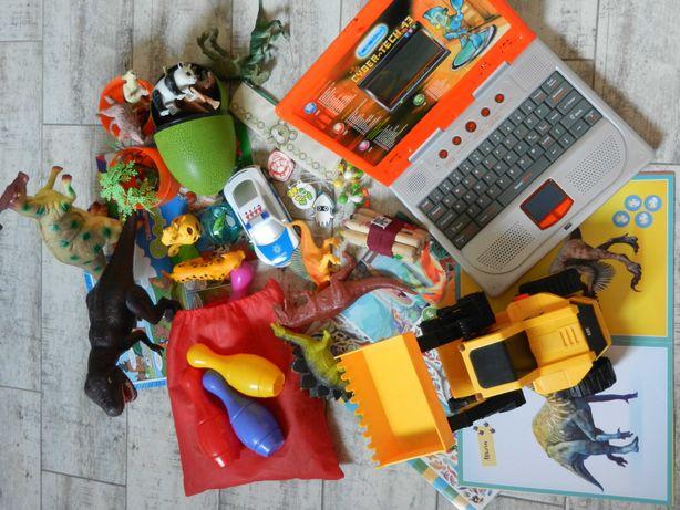 Zestaw zabawek: dinozaury zwierzęta koparka samochody gniotek inne