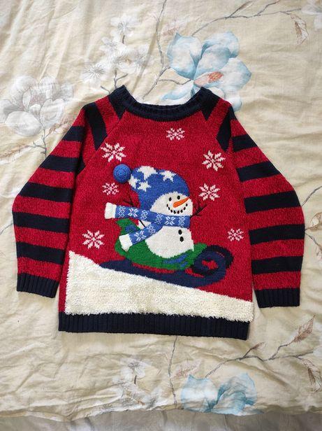 Новогодний свитер George 3-4 года 98 - 104 см снеговик свитерок