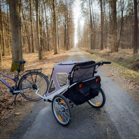 Przyczepka rowerowa z amortyzacją. Dla 2 lub 1 dzieci NOWA