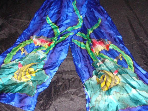 батик Рыбки 28Х165 оригинал шелк шарф шаль платок косынка