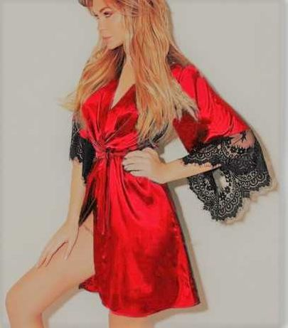 Женский халат эротический с кружевом. Жіночий халатик красный