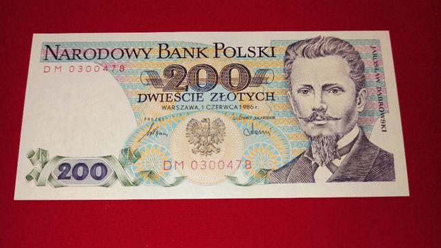 Banknot 200 zł 1986 Dąbrowski seria DM UNC NBP PRL