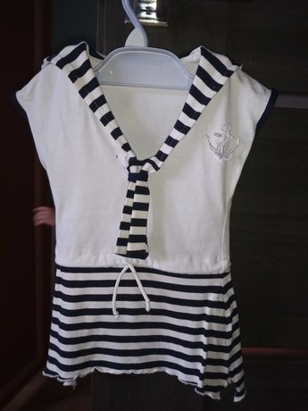 Sukienka w paski, marynarska