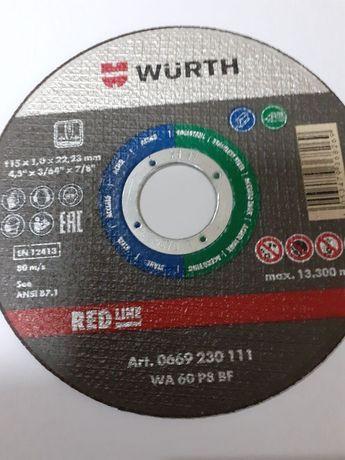 Lote de 20 discos de rebarbar e 10 de corte Wurth 115