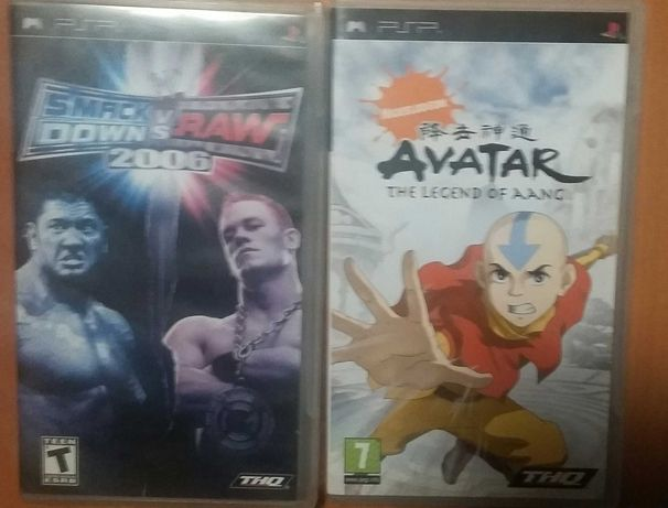 2 диска psp ,,smack down vs raw 2006,, ,,avatar the legend of aang,,