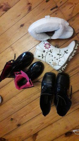 Kozaczki i wysokie butki sznurowane dla dziewczynki ze skóry. Firmowe.