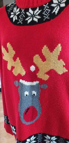 Sweter świąteczny święta renifer choinka bombki