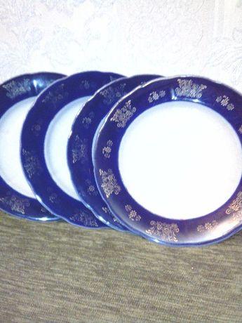 продам тарелки синие с золотом