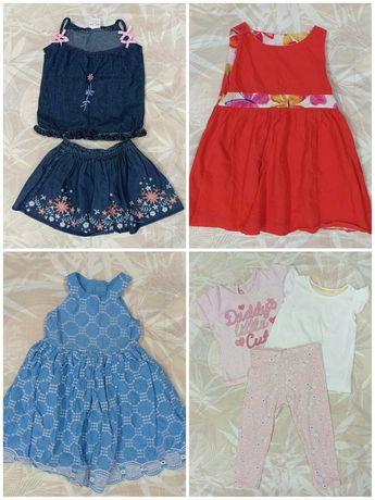 Вещи, одежда для девочки на 12-18 месяцев, платья футболки лосины юбка
